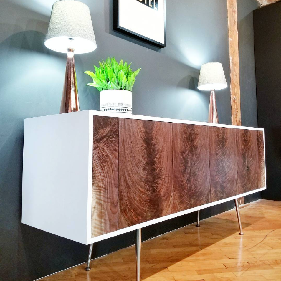 Modern Console, Curly Walnut Doors with a High Gloss White Casing & Chrome Tapered Legs