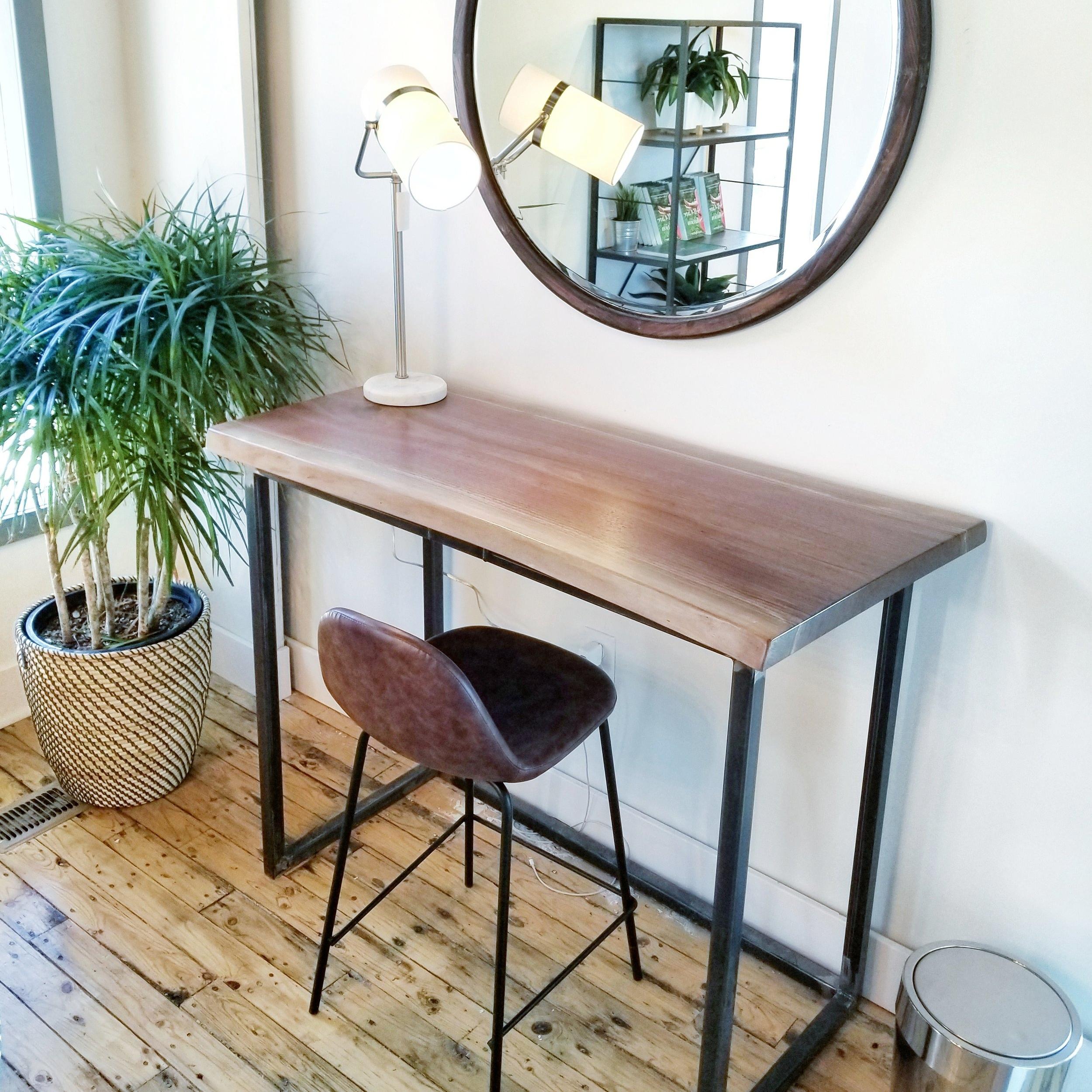Live Edge Walnut Standing Desk With Steel Base
