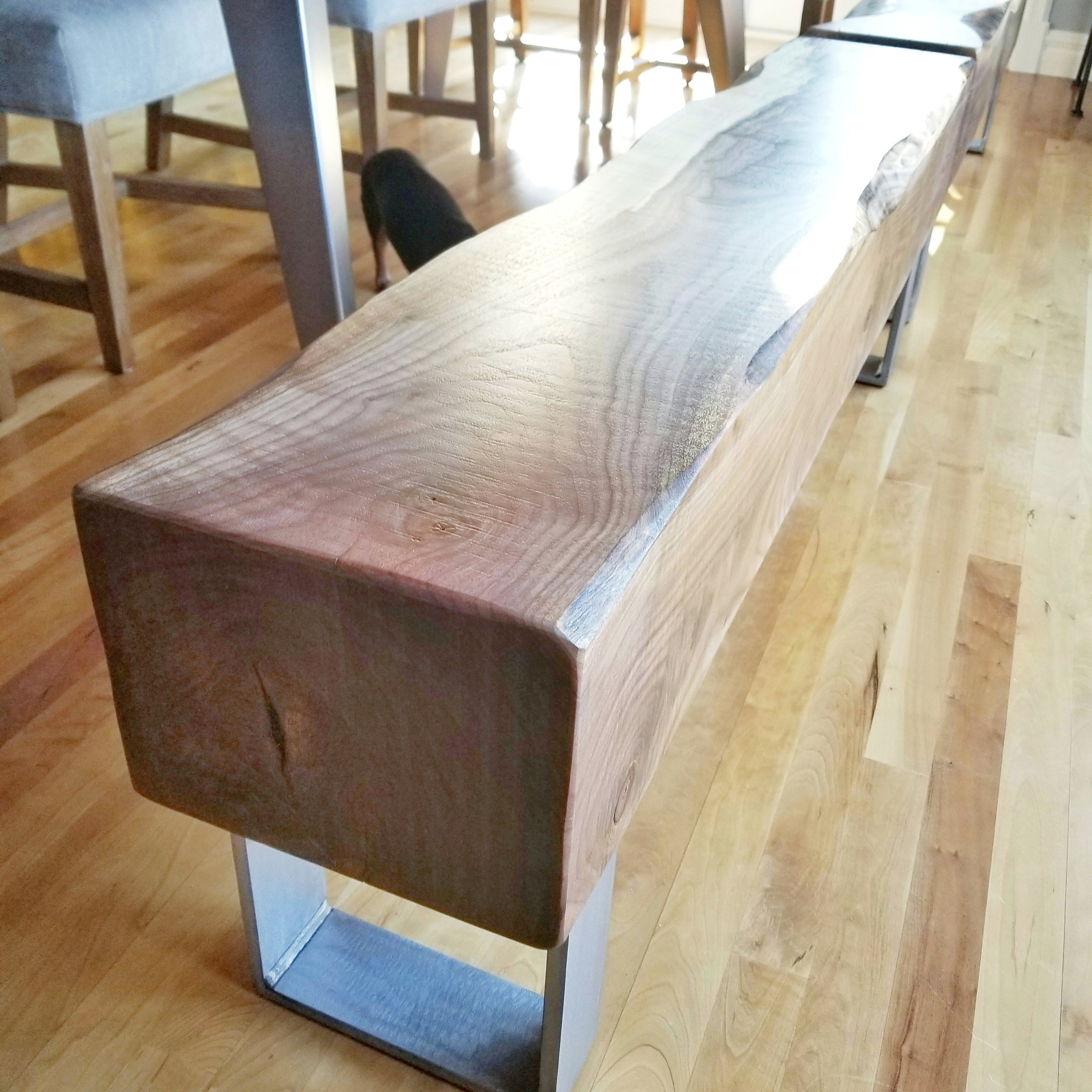 Walnut Timber Benches With Steel Legs