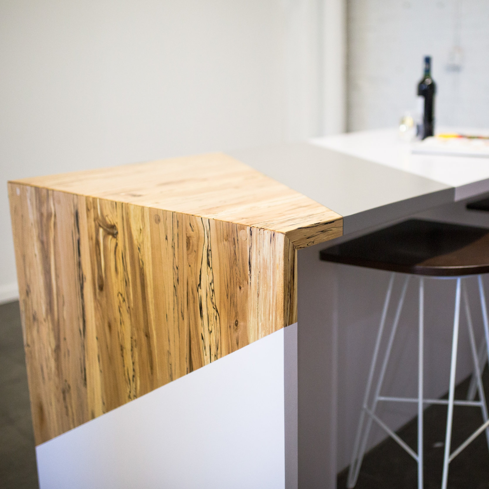 Natural Modern Kitchen Table w/ Extension, Spalted Maple & White