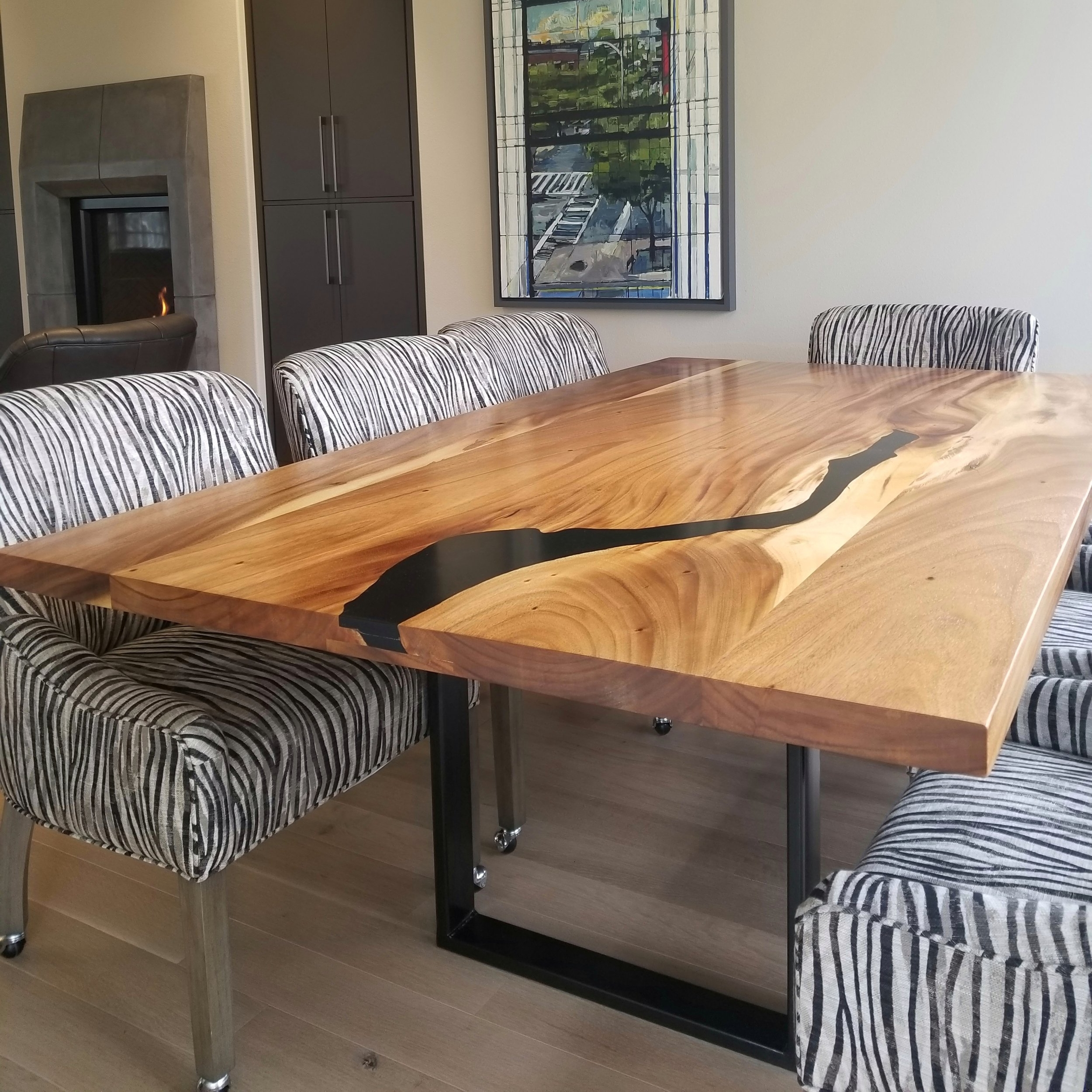 8' Monkeypod Dining Table w/ Jet Black Epoxy Fill