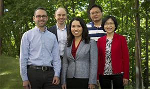 Back (from left): Jeremy Wallace, Shanjun Li  Front (from left): Eli Friedman, Jessica Chen Weiss, Panle Jia Barwick