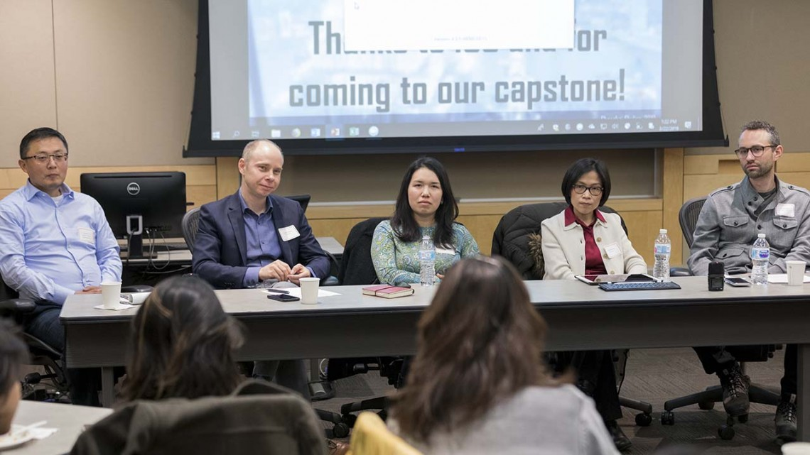 The faculty fellows of the China's Cities collaborative project answer a question from the audience at their capstone lecture March 22 at the ILR Conference Center. From left, Shanjun Li, associate professor of applied economics and management; project leader Jeremy Wallace, associate professor of government; Jessica Chen Weiss, associate professor of government; Panle Barwick, associate professor of industrial organization, applied econometrics and applied microeconomics; and Eli Friedman, associate professor of international and comparative labor.