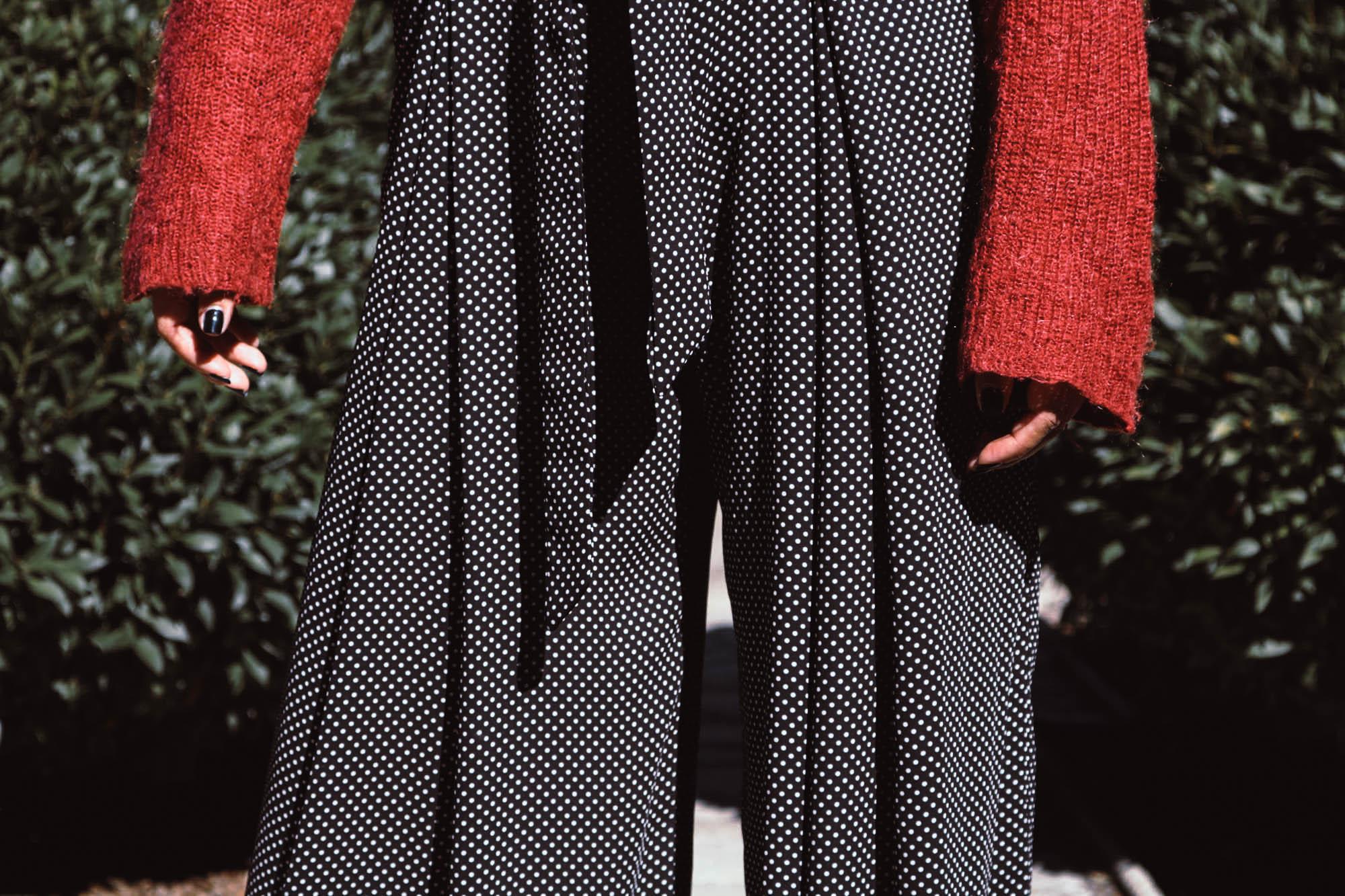 Outfit Details: Vintage Silk Houndstooth Scarf, NEM Fashion Sunglasses, Free People Turtleneck Sweater, Zara Polka Dot Wide Leg Pants, Vegan Leather White Boots