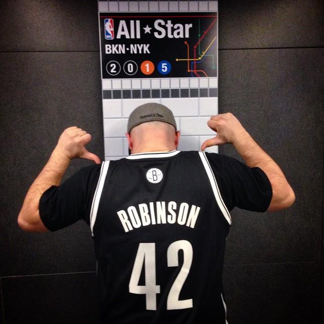 """Jackie Robinson Brooklyn Nets Jersey,"" created by Jeff Rothberg, 2012 (Photo Credit: Angela Lowe)"
