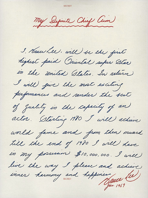 Bruce Lee's My Definite Chief Aim. Source: Letters to Note