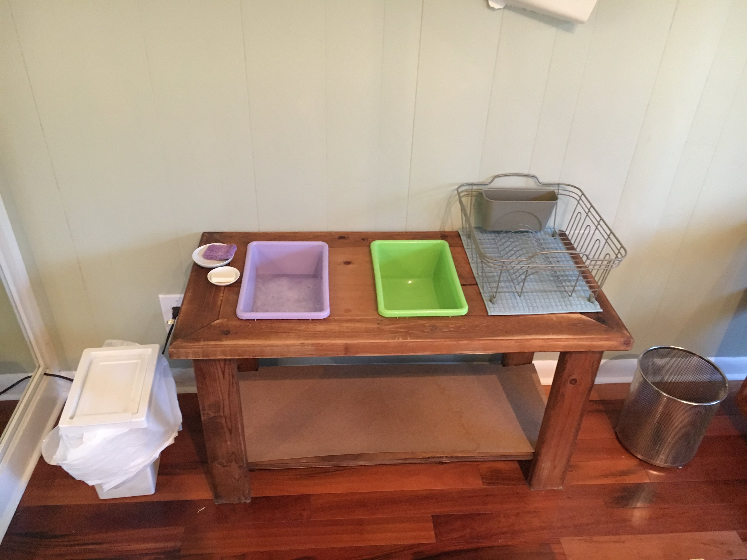 Dish Washing, Trash, and Laundry Bins