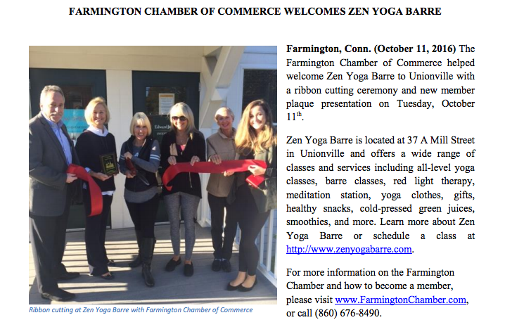 Zen Yoga Barre's Ribbon Cutting with the Farmington Chamber of Commerce 10/11/2016