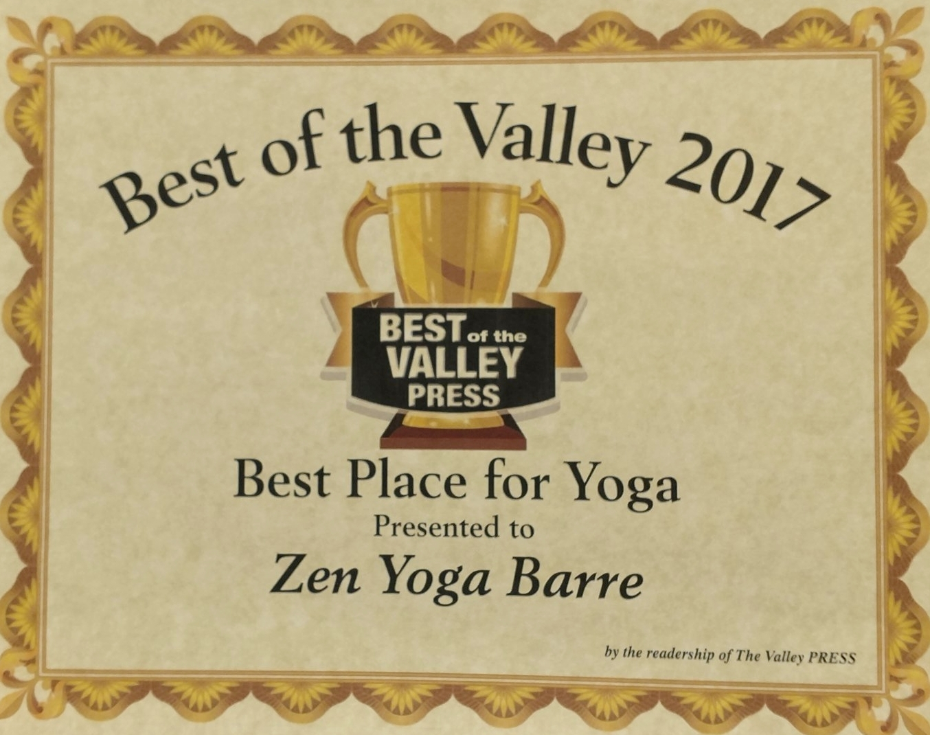 We are happy to announce we won Best Place for Yoga in the 2017 Best of the Valley Press! Thank you to all who voted and for your continual support.