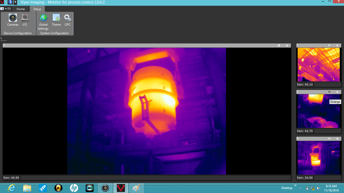 Viper's four-camera installation for refractory monitoring