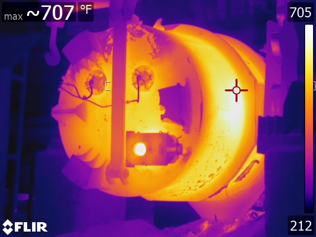Thermal Image of Ladle as it begins to pour