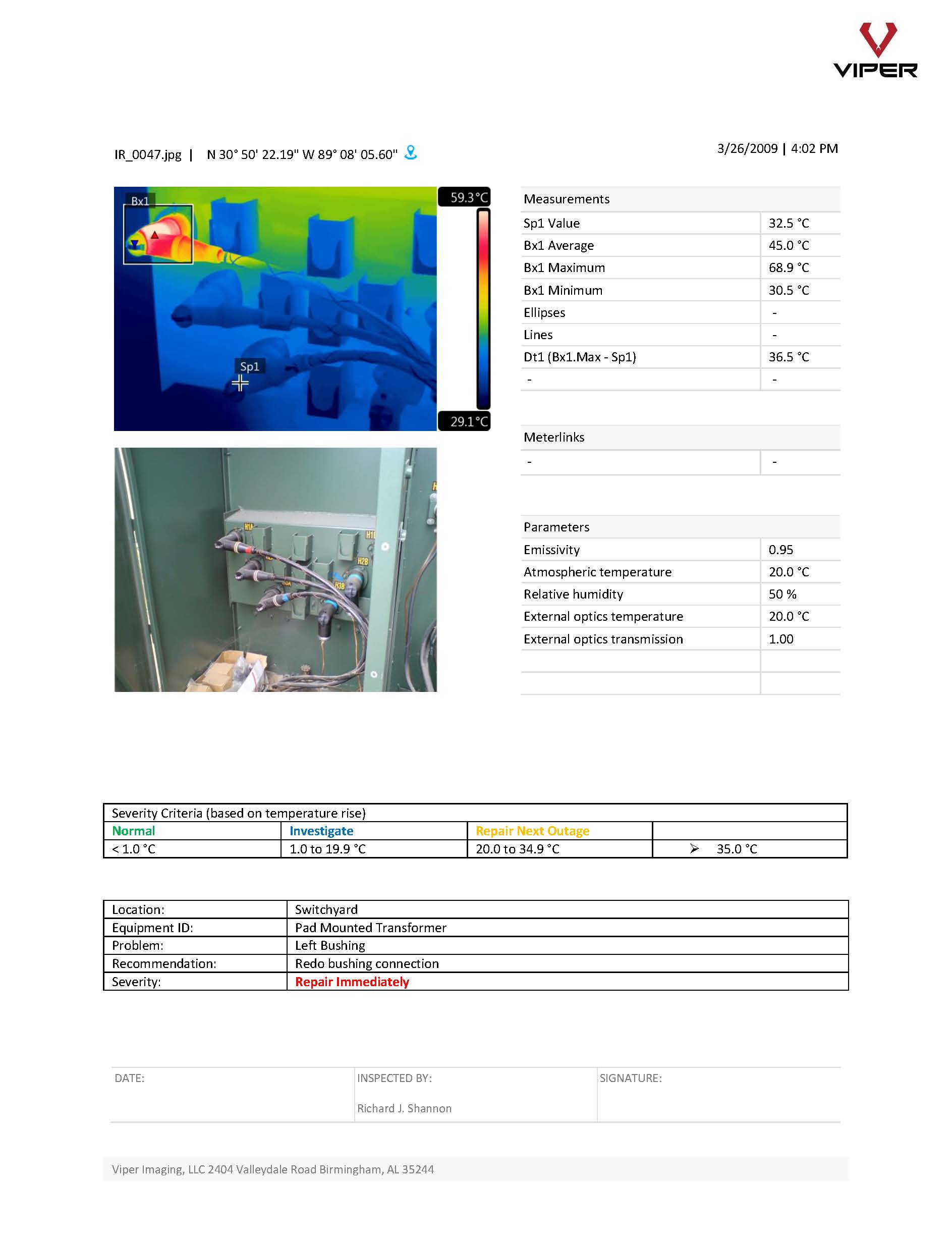 Comprehensive IR Inspection Report - Viper thermographers personally come on-site and perform this inspection. Once complete, a comprehensive report of their findings is provided.Click the button below to view a sample report.