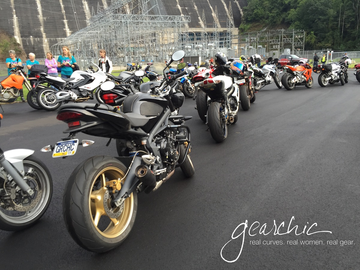 Bikes lined up at the Fontana Dam