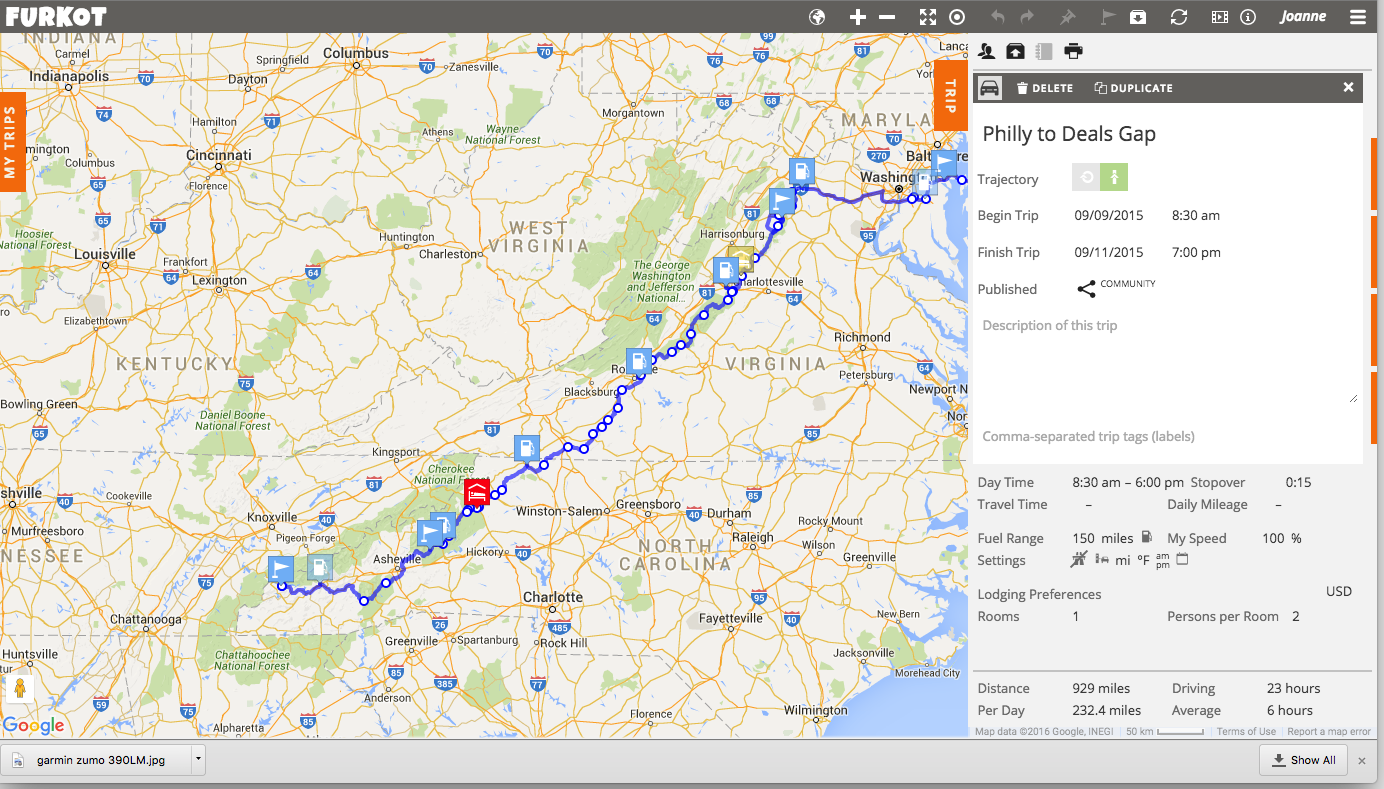 My Furkot route from my trip to the  Women's Sportbike Rally  last Fall