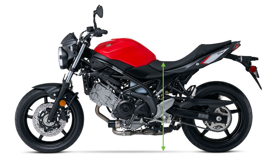 2016 Suzuki SV650: Seat Height, WITHOUT YOU ON IT!