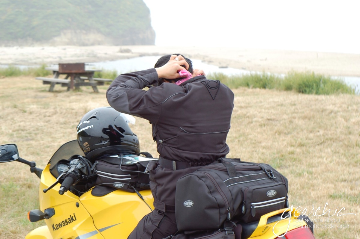 Mens motorcycle gear on small women are almost always too big!