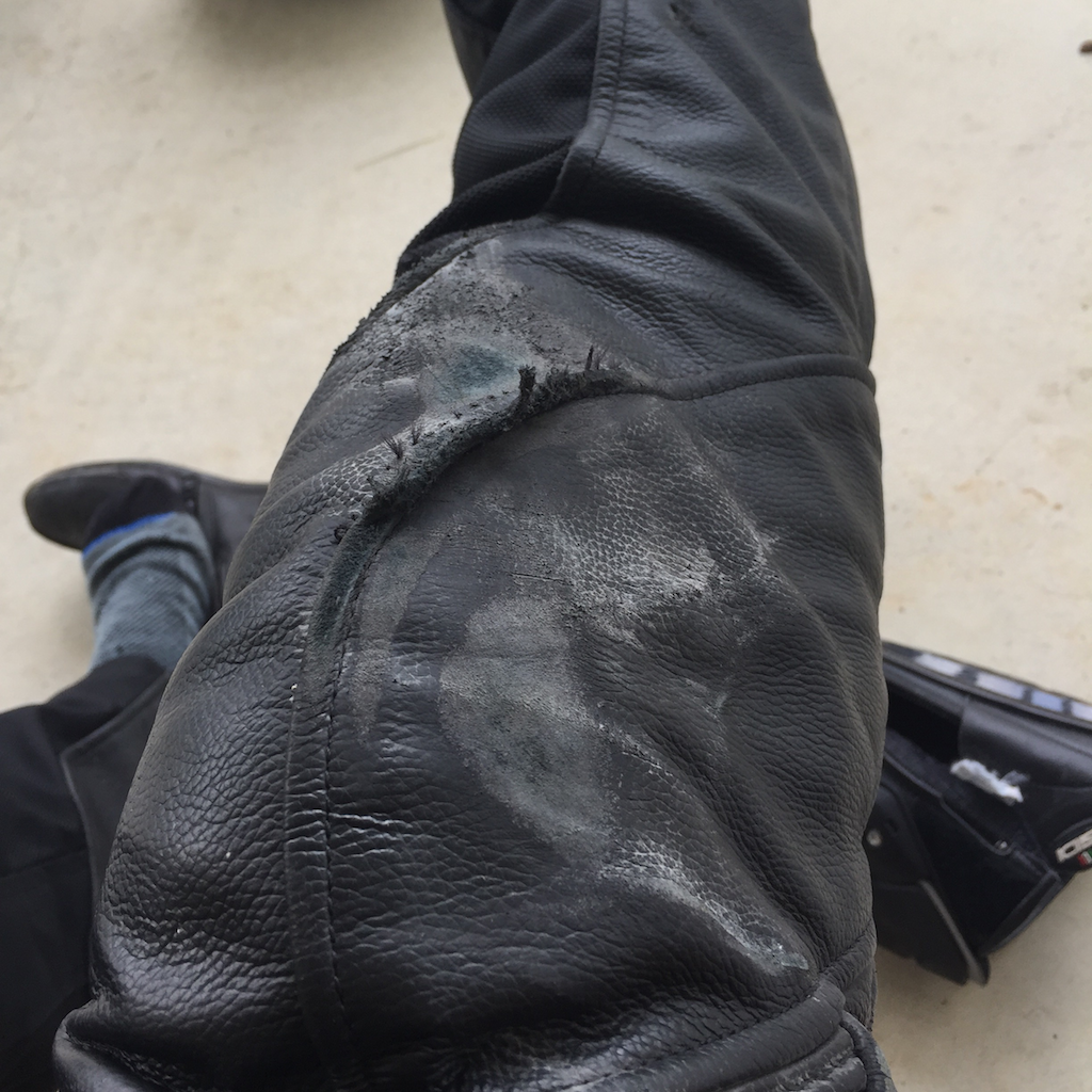 Thank god for my leather pants, when I went down in 2015 they absolutely saved my knees. I still ended up with bruises along the side of my leg because crashing hurts!