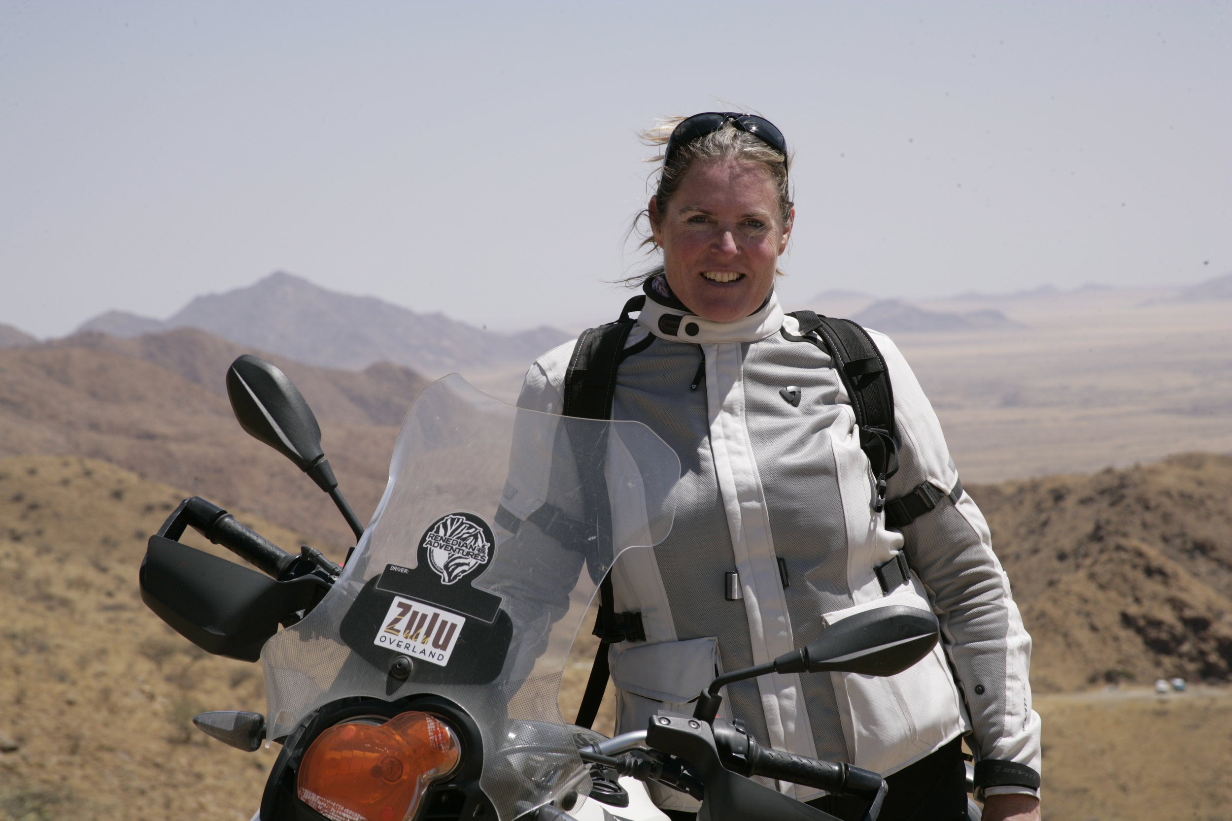 (Namibia, 2014: Alisa Clickenger, Founder of Women's Motorcycle Tours)