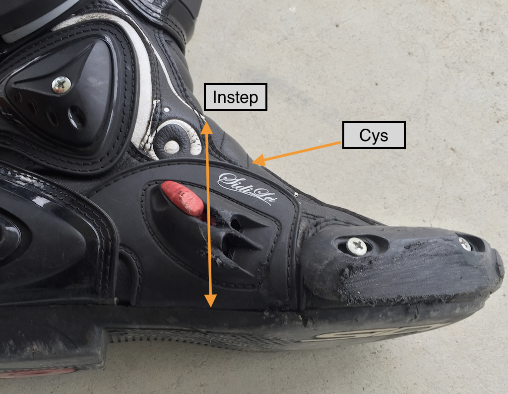 This is a photo of my Sidi boots after I  lowsided  in them on a 40mph curve (on a  backroad).  The strength of this boot is what saved me from strained, fractured or broken bones. I didn't have any of that, at all. The only thing I had was a little swelling on the top of my foot and a bruise.