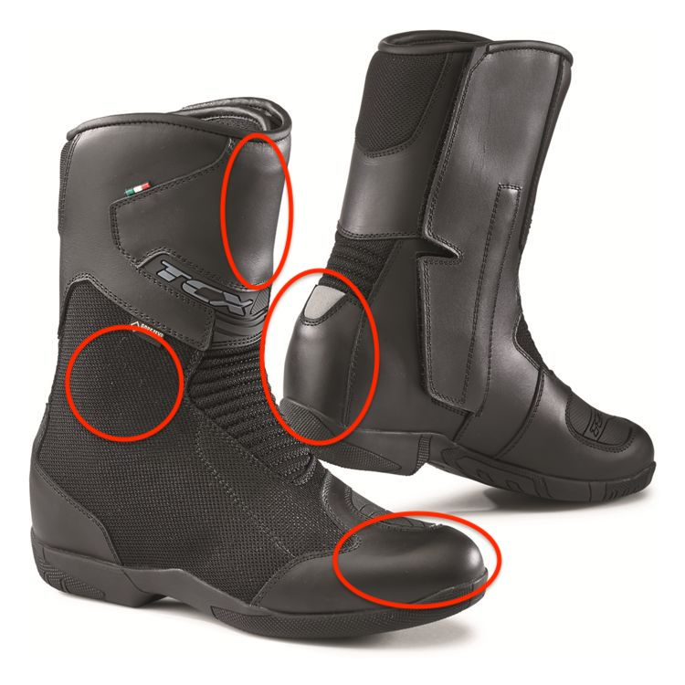 Impact points. Knock on these zones, does it knock back? How much do you trust your boots even with something so simple as dropping your bike on your foot?