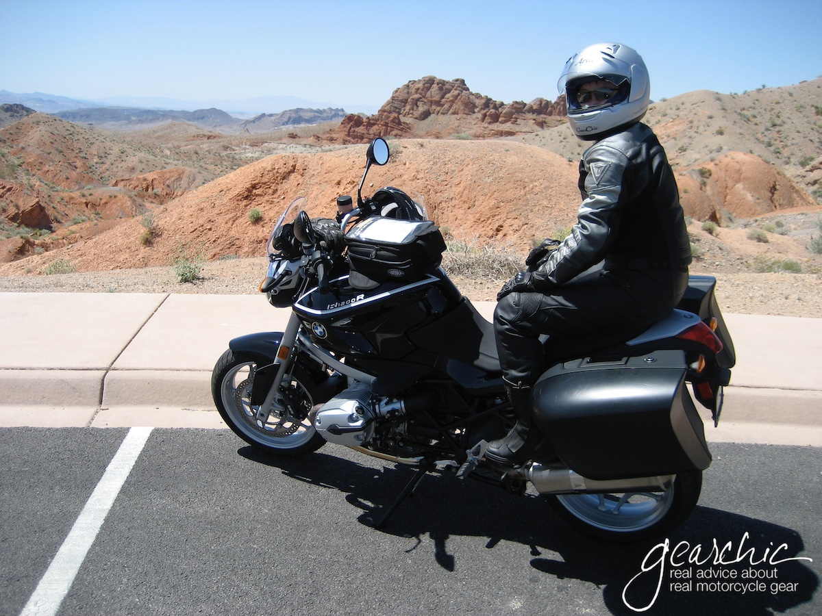 Me, in 2008 posing for a photo on a rented R1200R that my husband rented. I also rented an F800ST on this trip, but decided to pose for a quick pic.