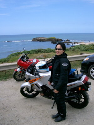 Me in 2005? on our (me+husband) first long ride outside of San Francisco to Half Moon Bay when we still lived in San Francisco. Up until that point, I had only ridden inside the city limits.