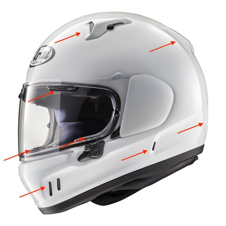 MSRP $659.95 Arai Defiant-X with half of the ventilation points illustrated. Add up the arrows and double that number. Now you have more ventilation than ever before.