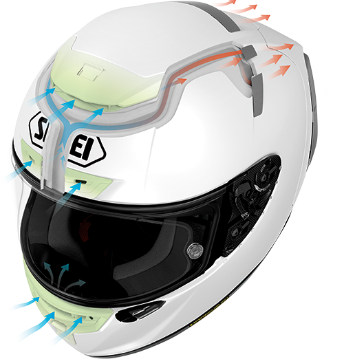 Unique channel events that push air physically through the helmet.    ShoeiHelmetsUsa.com   .