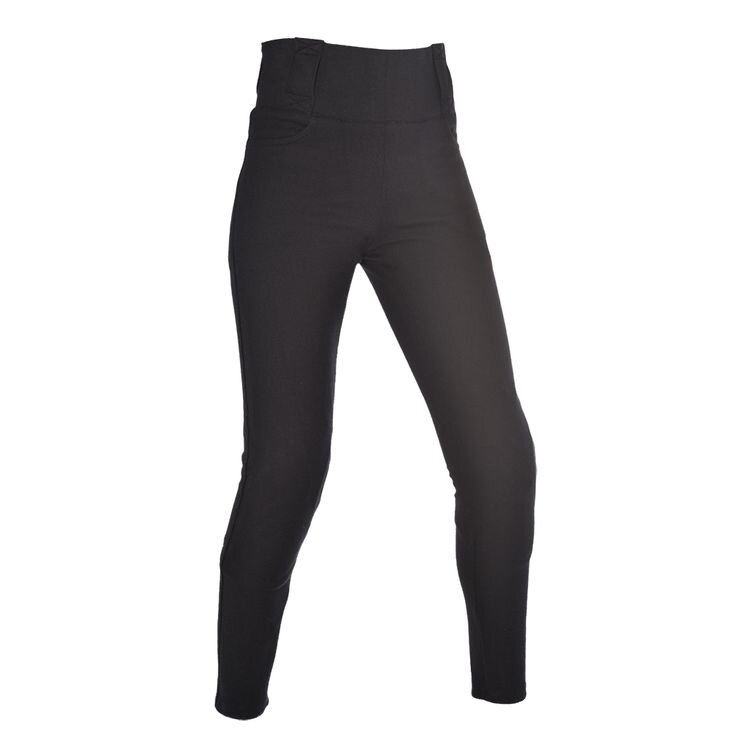 Oxford Super Leggings   These have a higher, looser waistband and are also available in short and tall sizes. You can order with with or without armor. Oxford also makes a Jegging with similar fitment and armor options but the look of denim. They are also a UK based company so the tags  inside  the jean will be UK. The size charts list both US and UK sizes, so be sure to order your US size and know that the tag on the inside should be listed 2 sizes smaller as a result. So if you order a US 6, the tag on the inside will read 10.