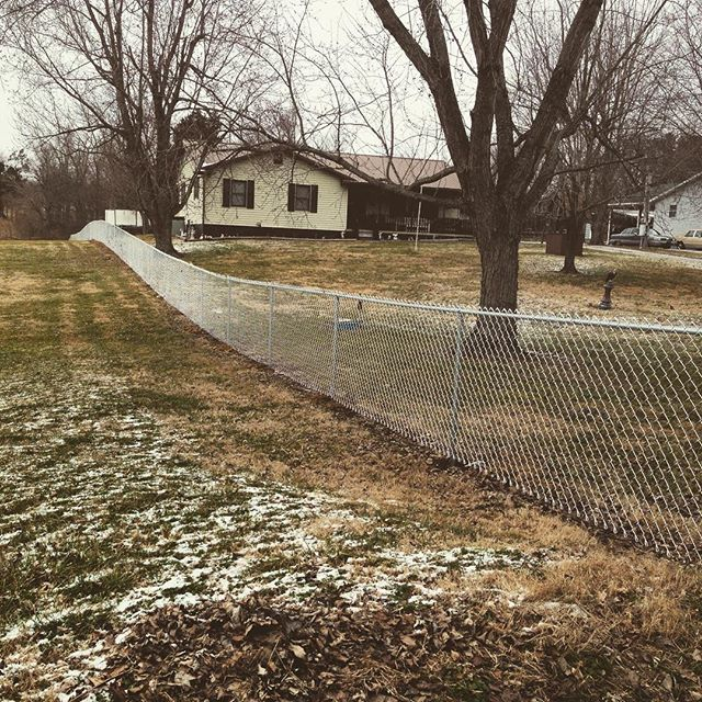 4 ft chainlink installed today after the snow melted in Princeton, KY! #fence #fenceline #chainlink #kentucky