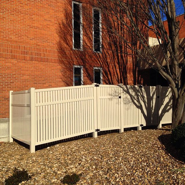 6ft tall, tan, semi vinyl privacy completed for Baptist Health! #vinyl #fence #fenceit #security #kentucky #Baptist