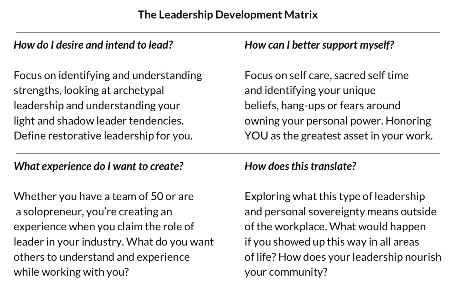 leadership development matrix the well supported woman