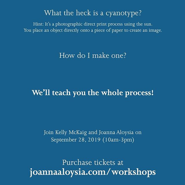 Hello my beauties! @kellymckaig.stylist.maker and my Sunshine Alchemy Workshop is rapidly approaching. Celebrate World Cyanotype Day and autumn's beautiful arrival with us this Saturday! Tickets are available for purchase using the link in my bio or just by going to my website: joannaaloysia.com/workshops. ⠀⠀⠀⠀⠀⠀⠀⠀⠀ We hope to see you there!