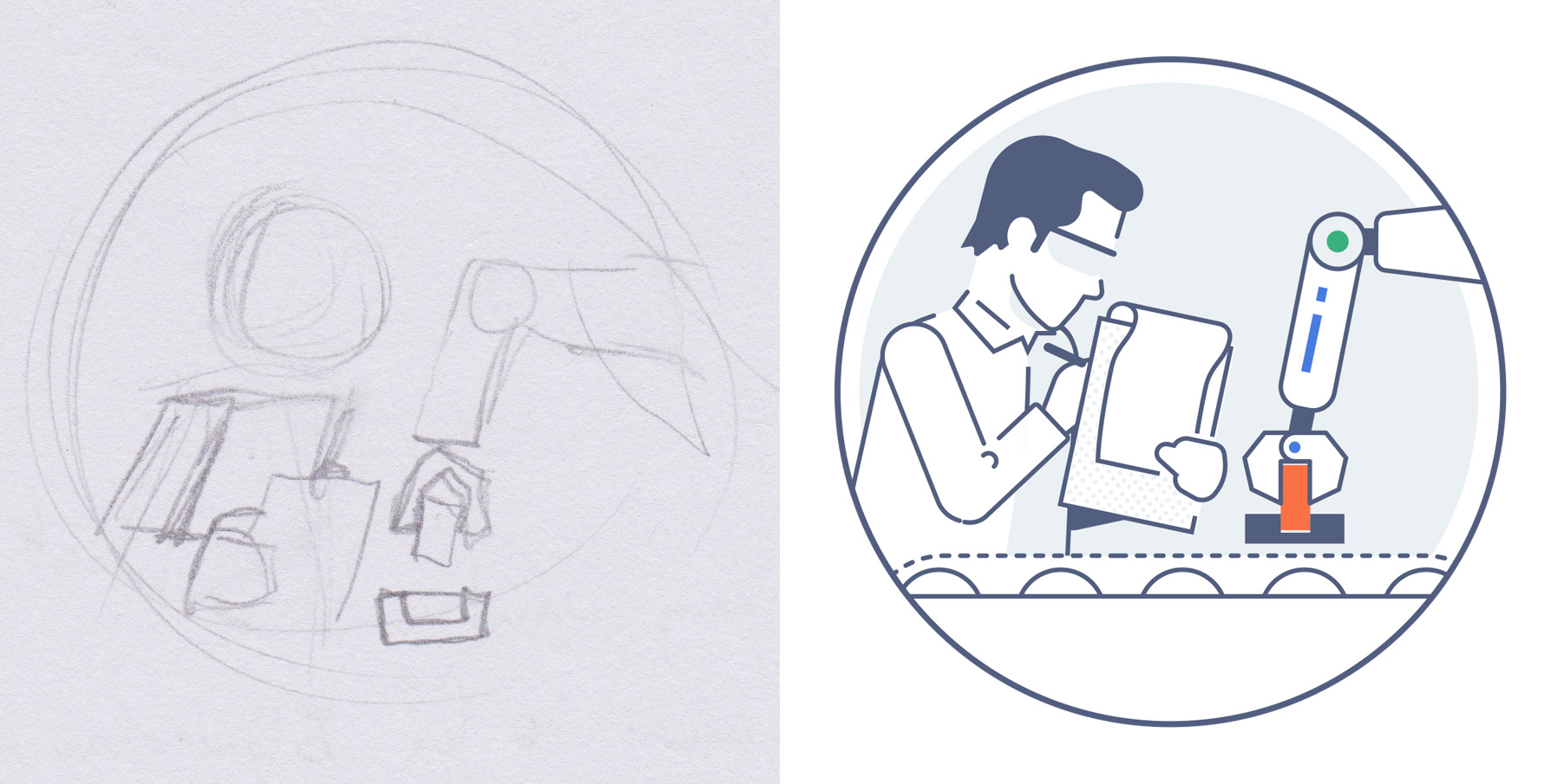 Design for a factory worker, seen briefly in the video at approximately 00:32:00