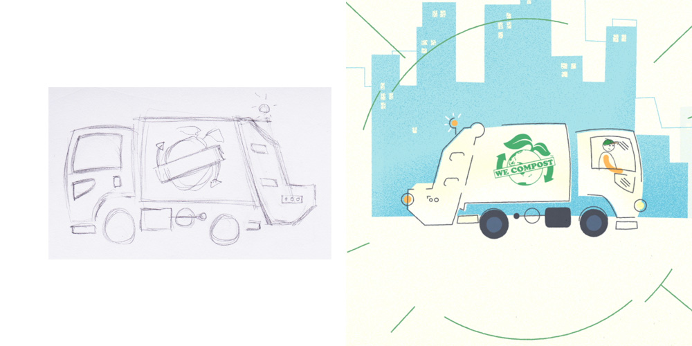 sketch to final artwork - We Compost truck.