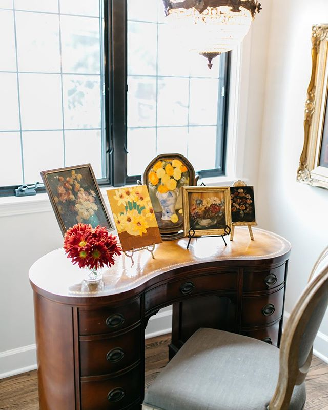 Your home should tell the story of who you are, and be a collection of what you love.  We love to collect little still life florals and display them on collected vintage easels.