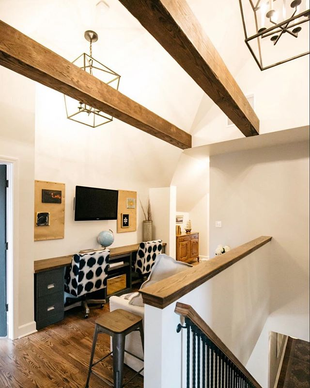When planning for this second floor attic build out, a flex space was top priority for our family. Vaulting the ceiling and adding twin oversized lanterns, along with wrapping joists to create rustic beams, made this small footprint feel so much larger.  Our hope is for this space to grow with our children and offer them additional living space for homework, hanging out with friends, sleepovers and beyond! 📸: @chloelanephotography / GC @kshep23