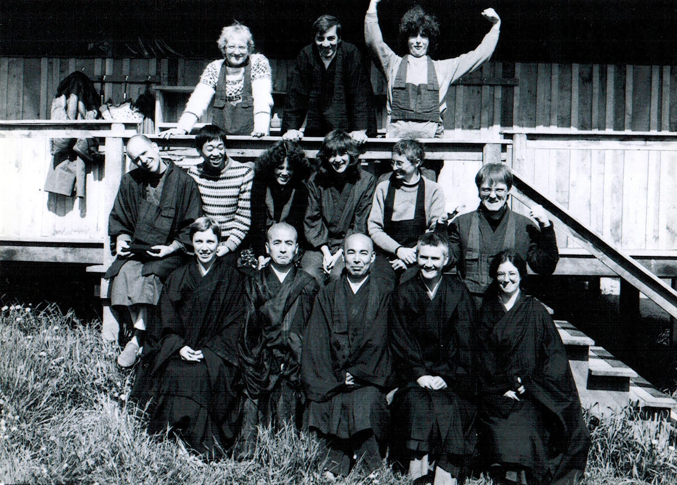 Akiba roshi with Katagiri roshi and practitioners at a practice period in the early days of  Hokyoji Zen Practice Community  in Minnesota