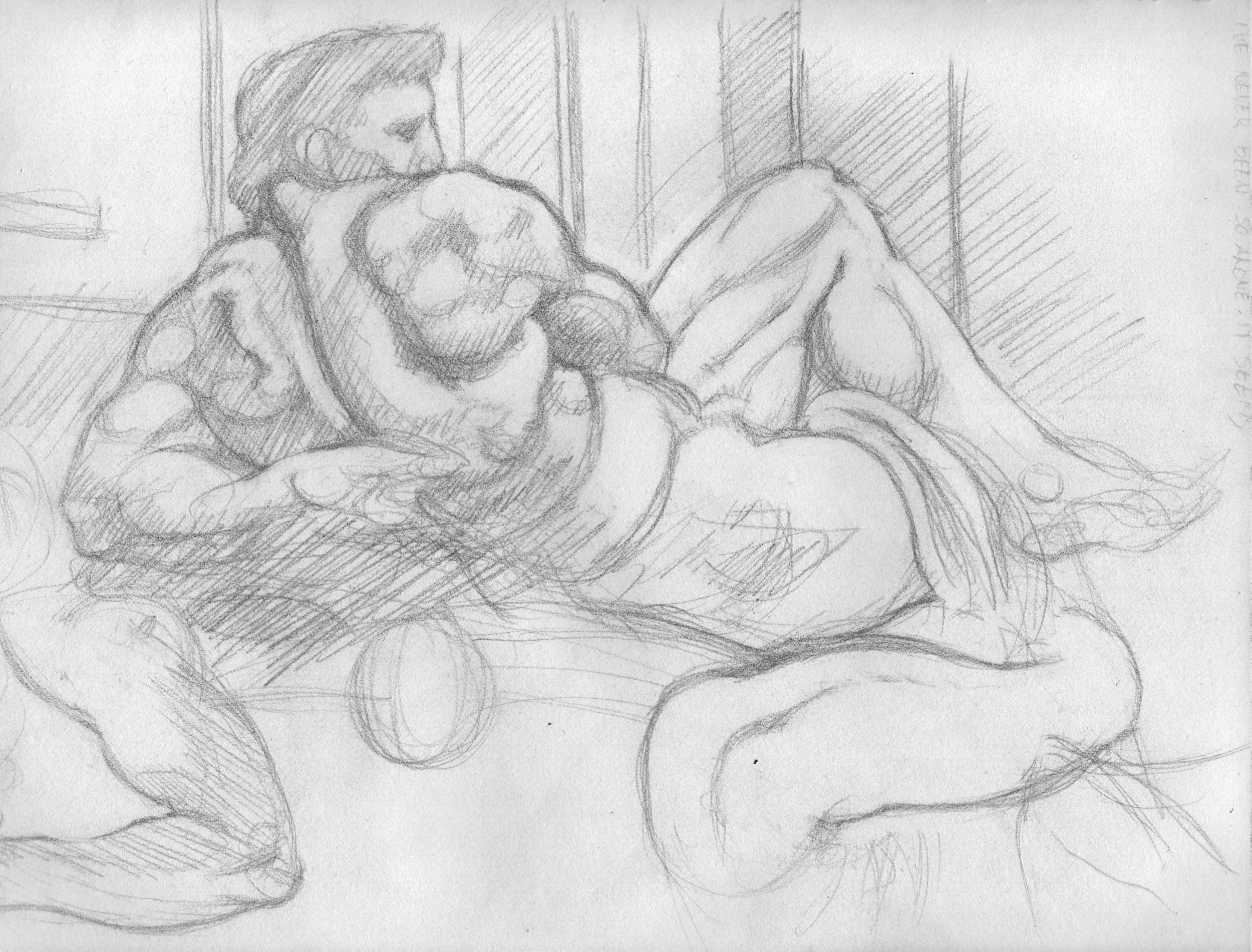 """Sketch of Michelangelo's """"Day"""" in the Medici Chapel. 1995"""
