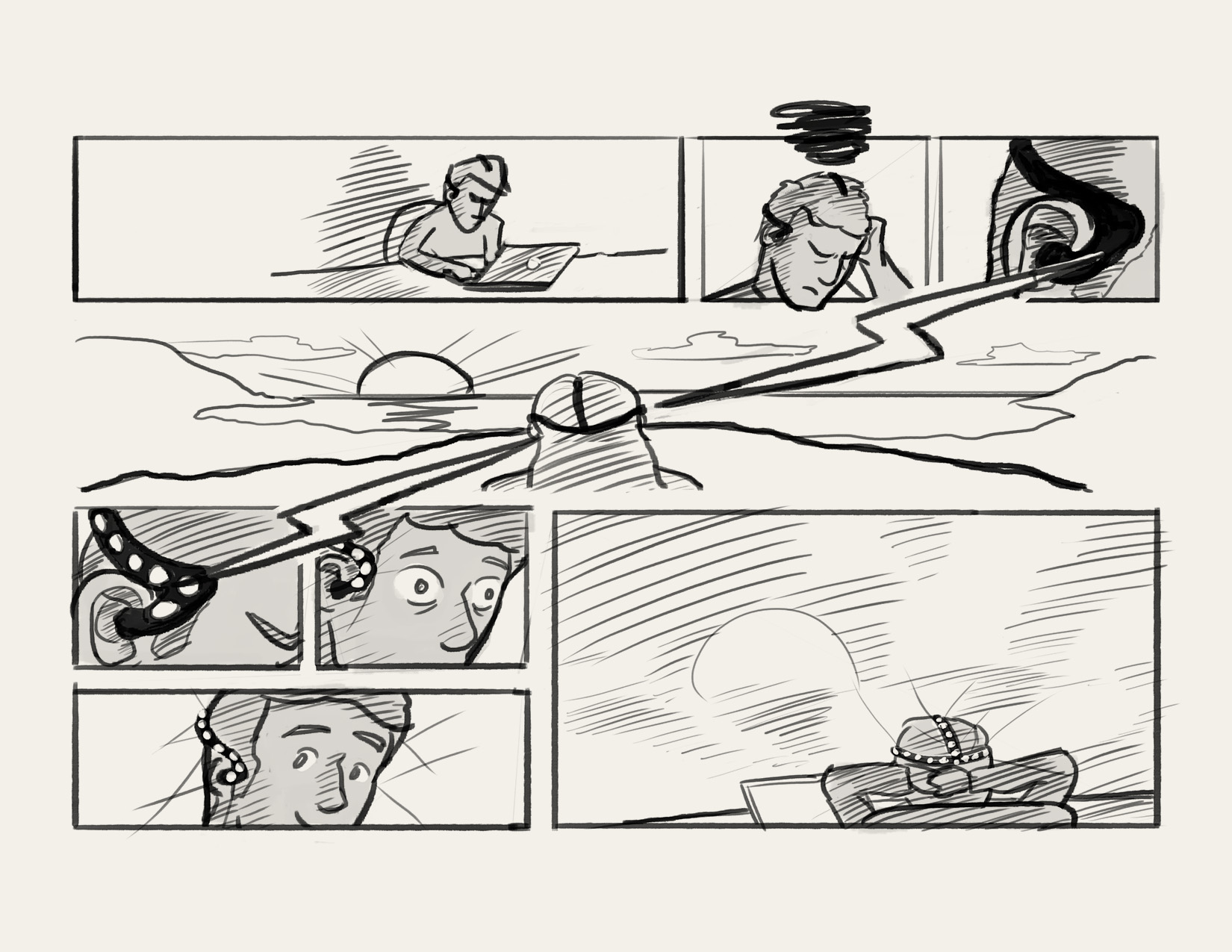 Rough storyboard sketch