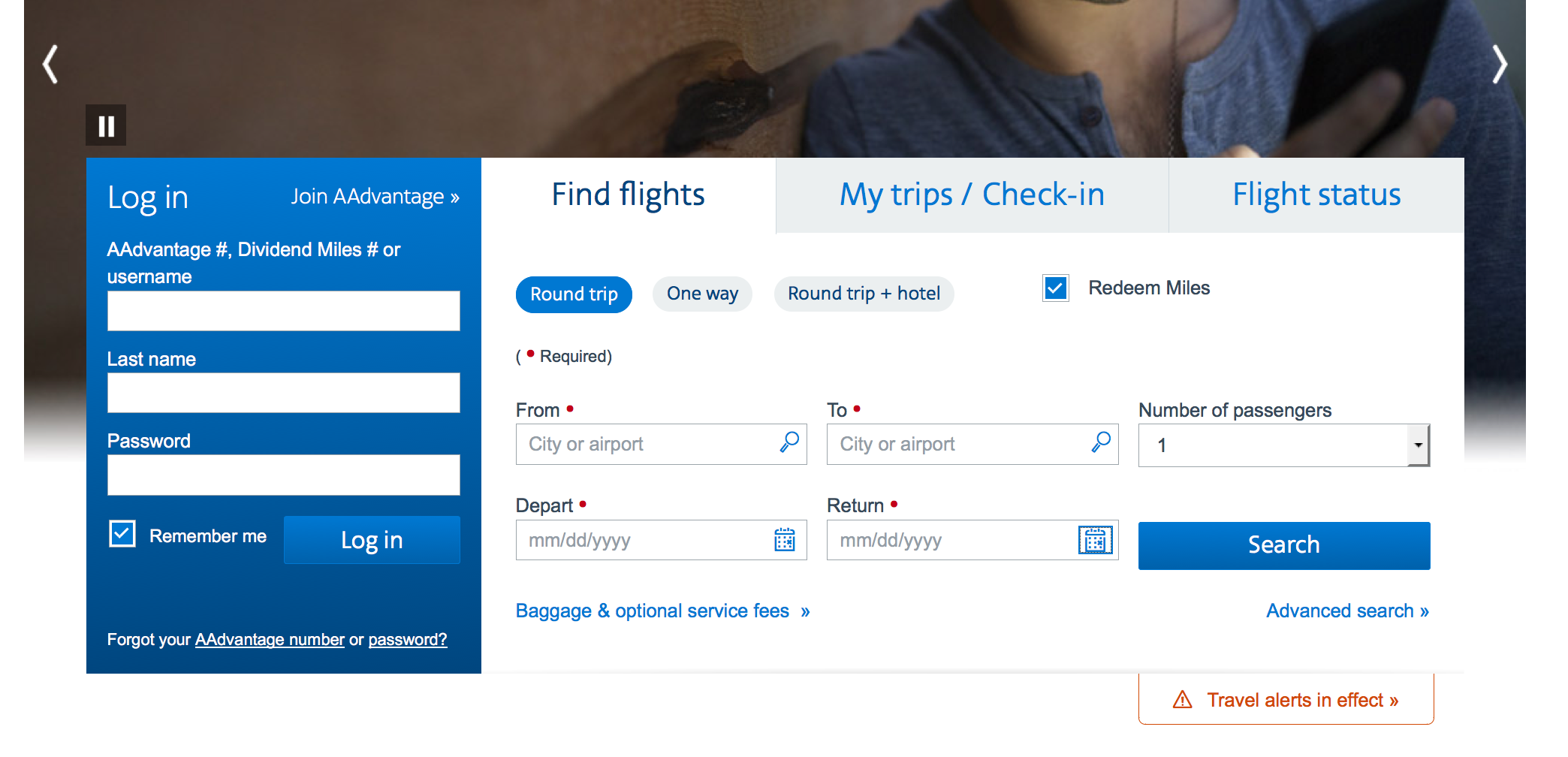"AA booking page, be sure to click ""Redeem Miles."""
