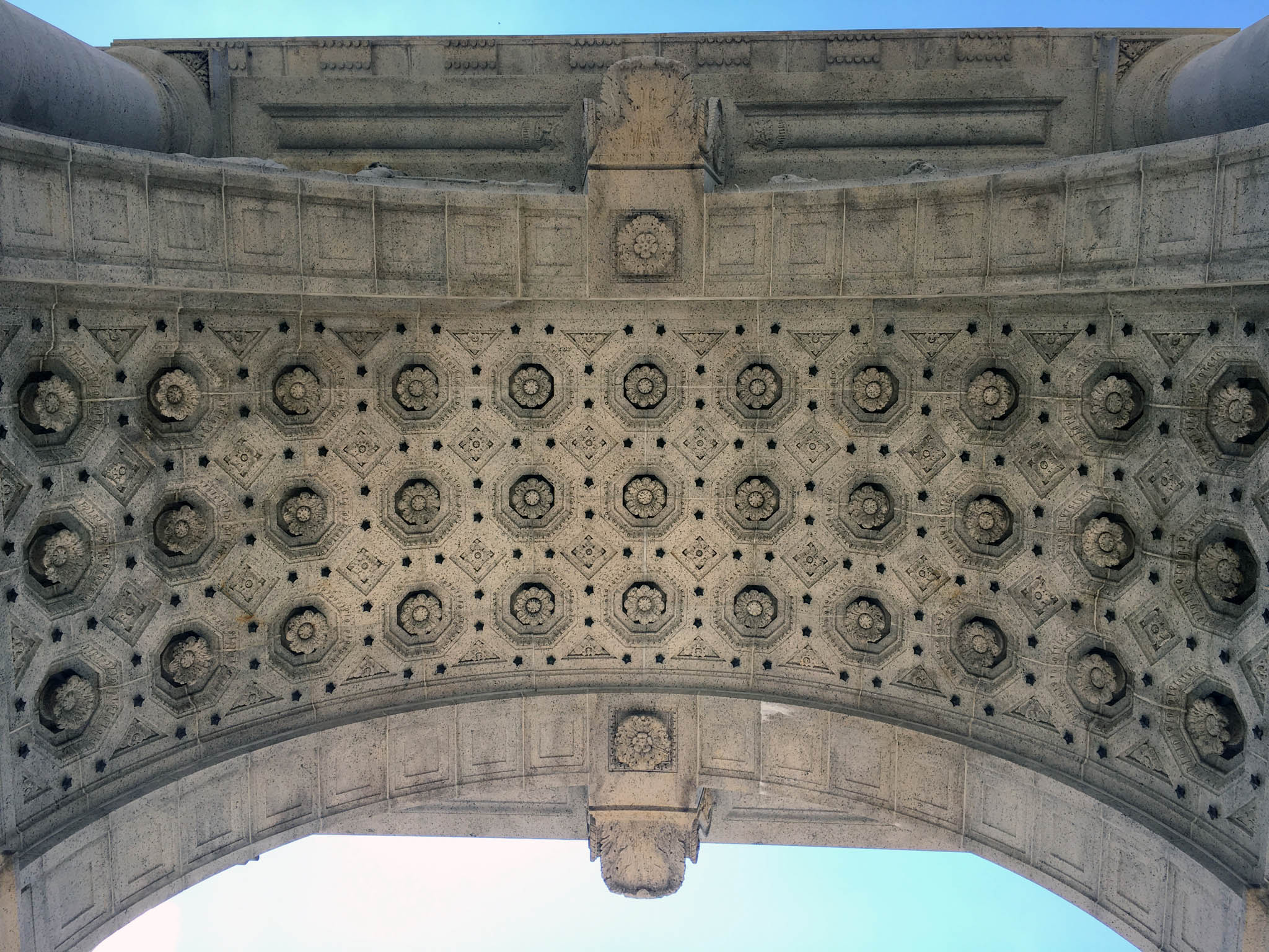 Fine ornamental detail underneath the National Memorial Arch.