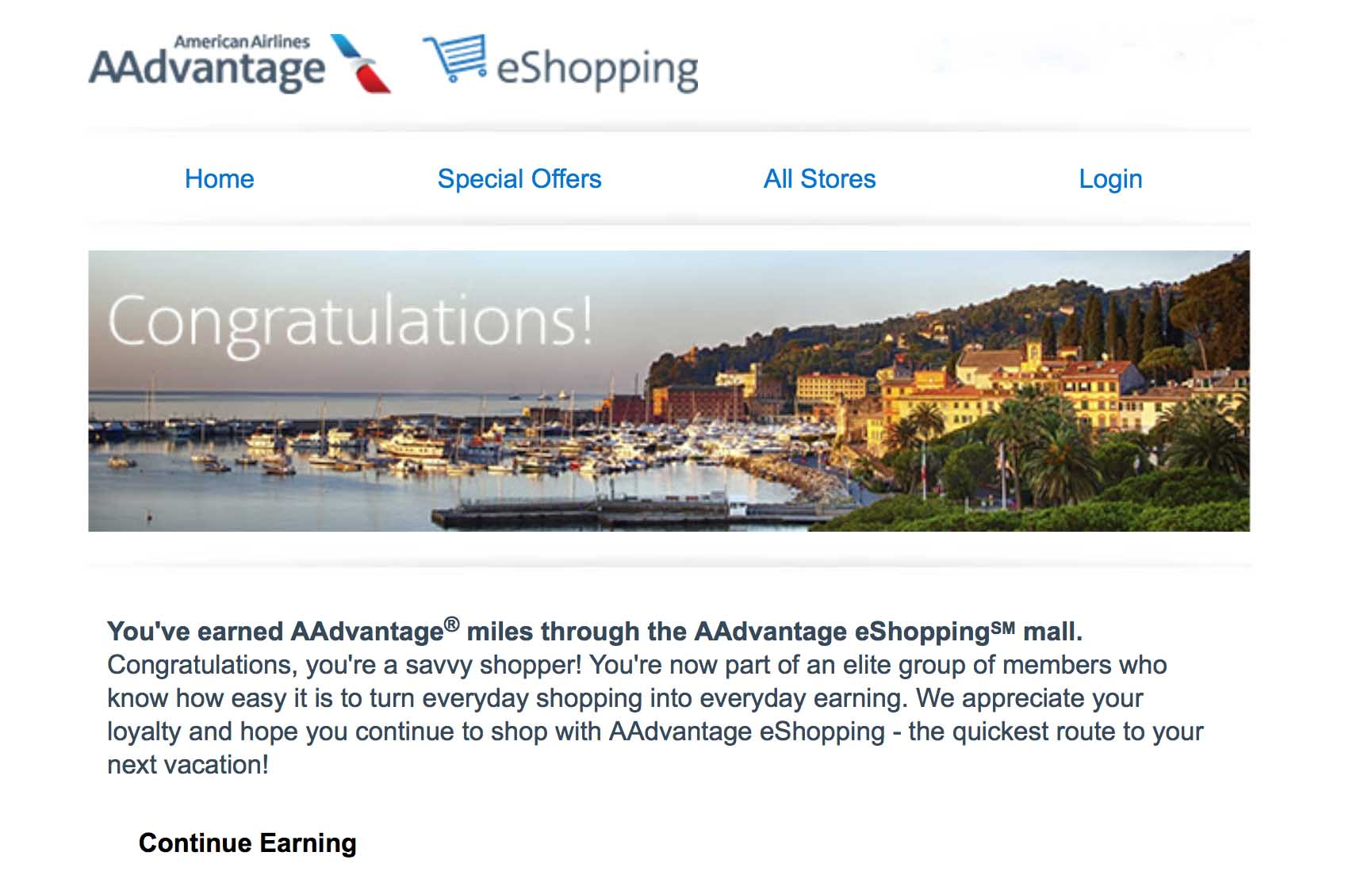 Screen shot from email after earning miles through the AAdvantage eShopping portal.