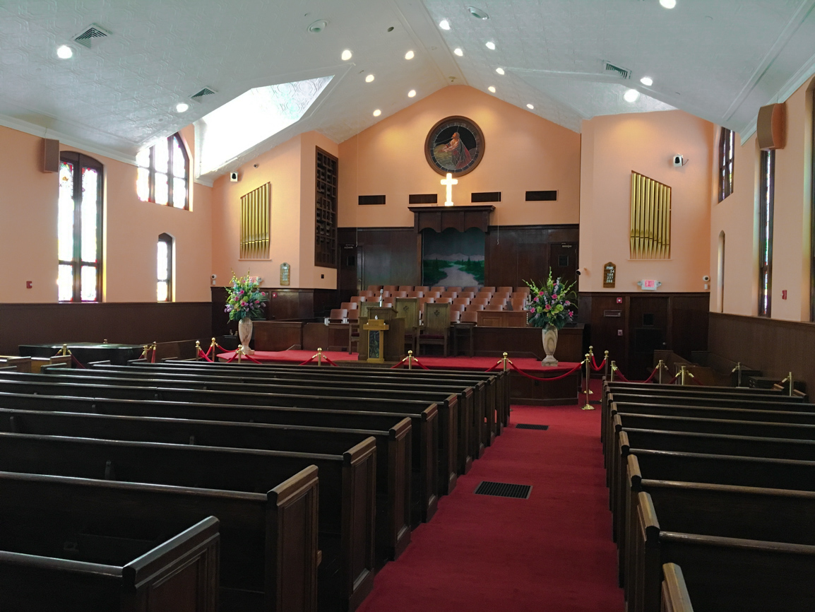 Interior of the historic Ebenezer Baptist Church, photo by Derek Wright.