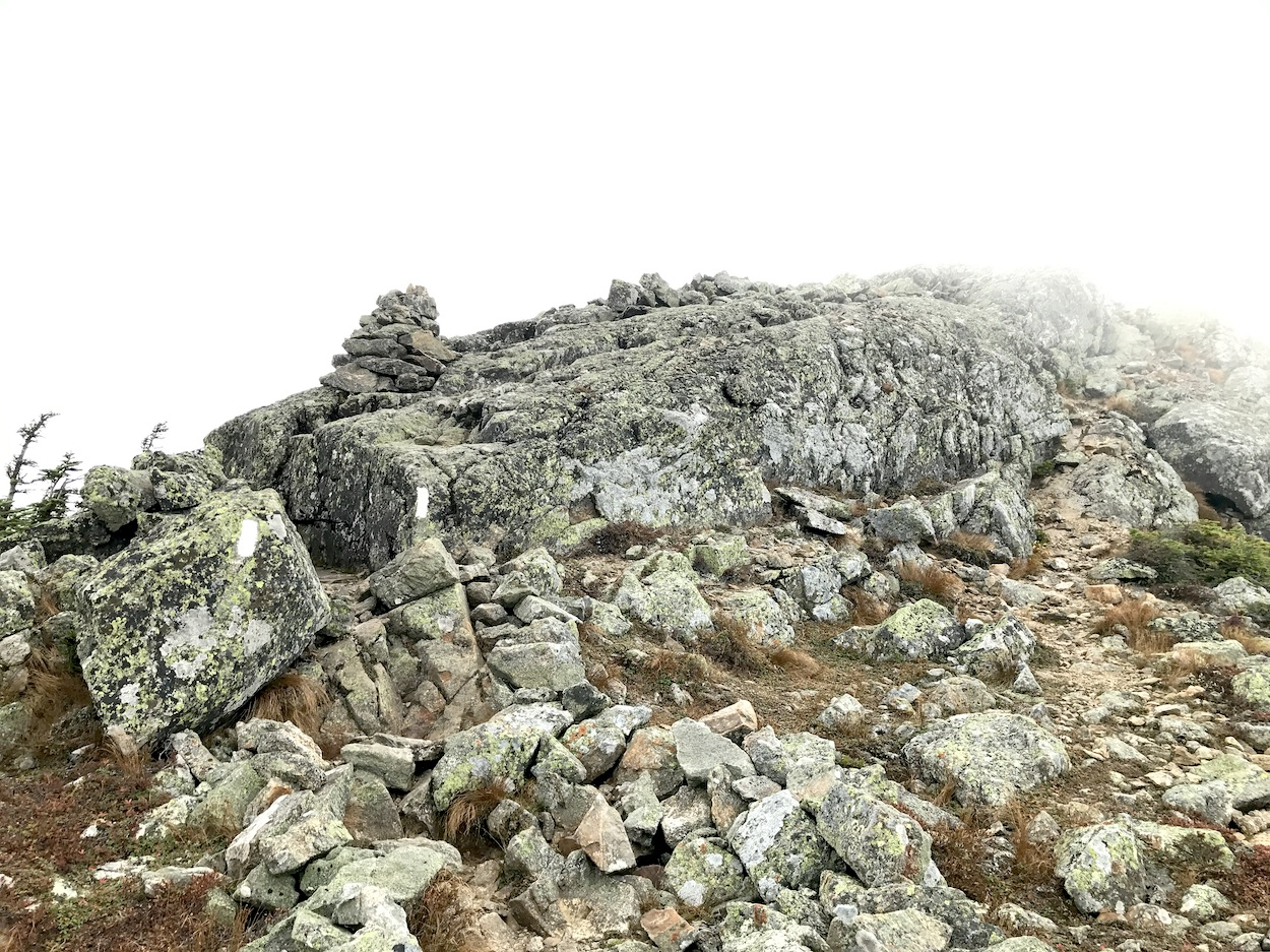 Bigelow summit in fog, photo by John Stifler.