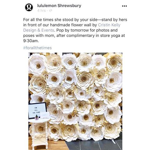 #Repost @lululemon #lululemonshrewsbury ・・・ For all the times she stood by your side - stand by hers in front of our handmade flower wall by @cristinkellydesign  😍✨✌🏼#peacelovegrove
