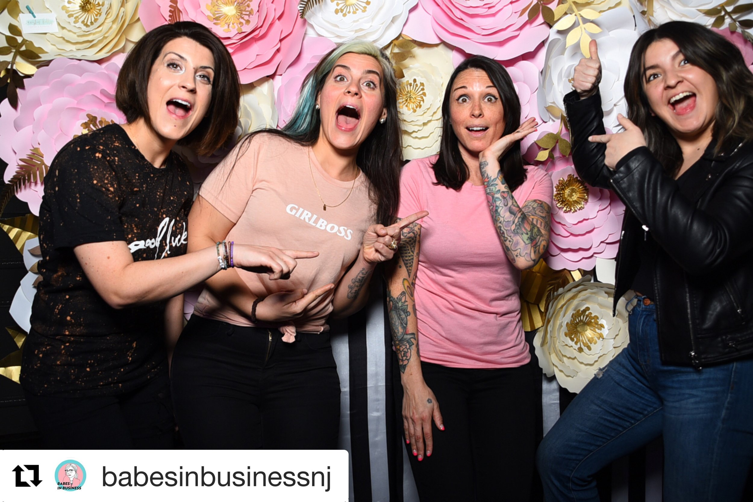 babesinbusinessnj: That flower wall tho!! More photos from our big meet up this week. Big thank you to @cristinkellydesign for providing one of her beautiful designs