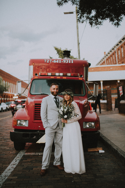 Ybor Tampa Industrial Bohemian CL Space Wedding Florist Fire Ashley McBride Events Engine 53 Pizza Truck  -177.jpg