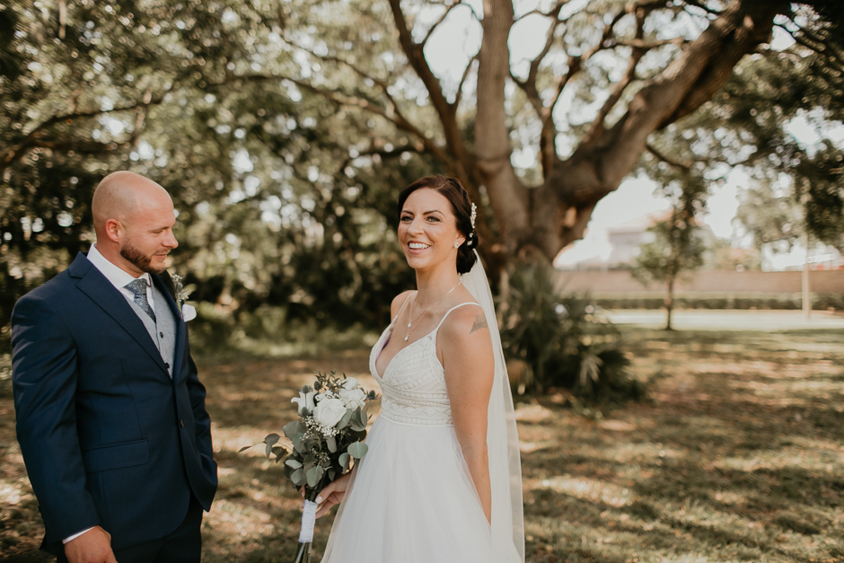 Harborside Chapel Wedding Palm Harbor Hall Bohemian Dusty Steel Blue Clearwater Tampa Wedding Photographer BHLDN Willowwby Thistle Gown White Magnolia Bridal -51.jpg