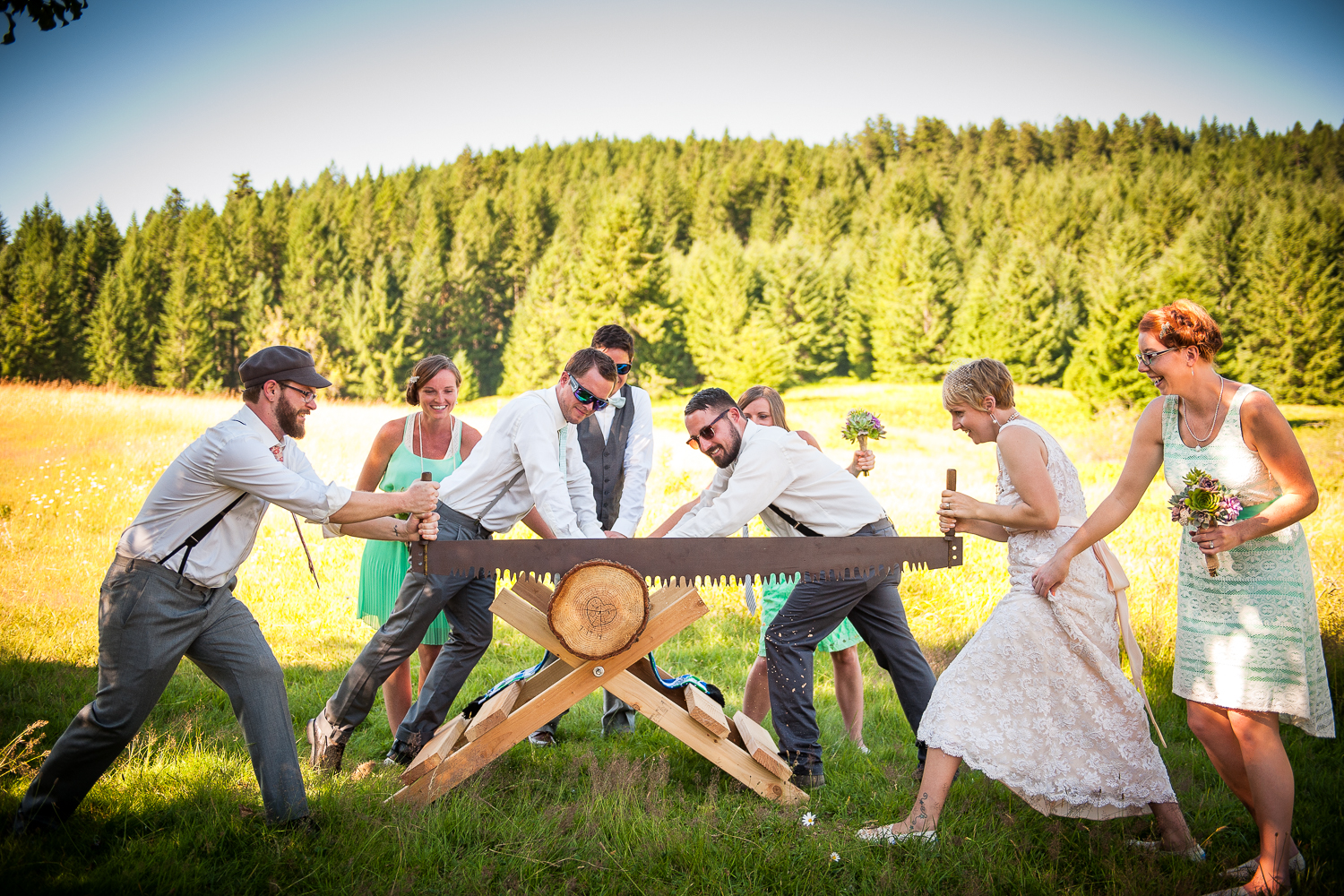 Wedding Ceremony at the Old Barn in Silver Falls State Park, Silverton, OR
